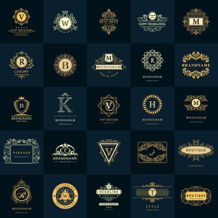 Vector illustration of Line graphics monogram. Vintage Logos Design Templates Set. Business sign Letter emblem. Vector logotypes elements collection, Icons Symbols, Retro Labels, Badges, Silhouettes. Premium Collection Illustration