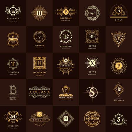 vector illustration: Vector illustration of Line graphics monogram. Vintage Logos Design Templates Set. Business sign Letter emblem. Vector logotypes elements collection, Icons Symbols, Retro Labels, Badges, Silhouettes. Premium Collection Illustration
