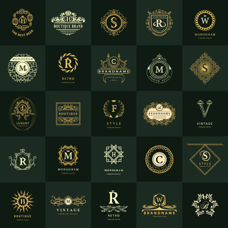 Vector illustration of Line graphics monogram. Vintage Logos Design Templates Set. Business sign Letter emblem. Vector logotypes elements collection, Icons Symbols, Retro Labels, Badges, Silhouettes. Premium Collection Banco de Imagens - 57594535