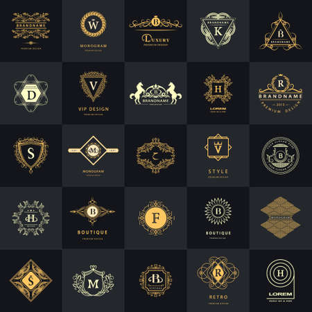 Vector illustration of Line graphics monogram. Vintage Logos Design Templates Set. Business sign Letter emblem. Vector logotypes elements collection, Icons Symbols, Retro Labels, Badges, Silhouettes. Premium Collection