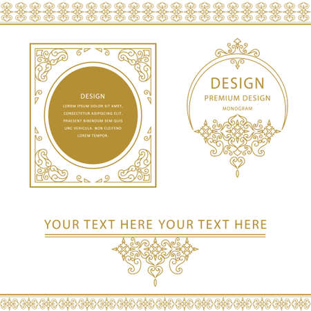 Vector illustration of Set of line art frames and borders for design template. Element in Eastern style. Outline floral frames. Mono line decor for invitations, greeting cards, certificate. Vector illustration Illustration