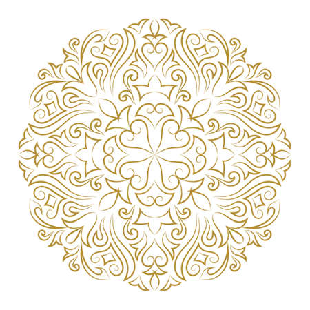 Vector illustration of Line art ornament for design template. Vintage element in Eastern style. Mandala. Outline traditional circle pattern for wedding invitations, greeting cards, certificate. Vector golden decor.  イラスト・ベクター素材