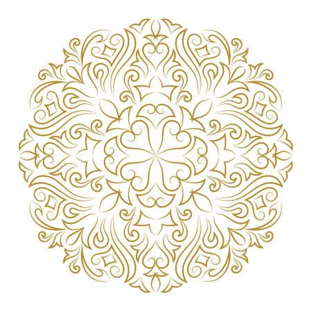 Vector illustration of Line art ornament for design template. Vintage element in Eastern style. Mandala. Outline traditional circle pattern for wedding invitations, greeting cards, certificate. Vector golden decor. Illustration