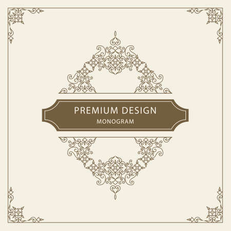 backgrounds and borders: Vector illustration of Vintage Ornament Greeting Card Vector Template. Retro Luxury Invitation, Royal Certificate. Flourishes frame. Vintage Background, Vintage Frame, Vintage Ornament, Ornaments Vector, Ornamental Frame.