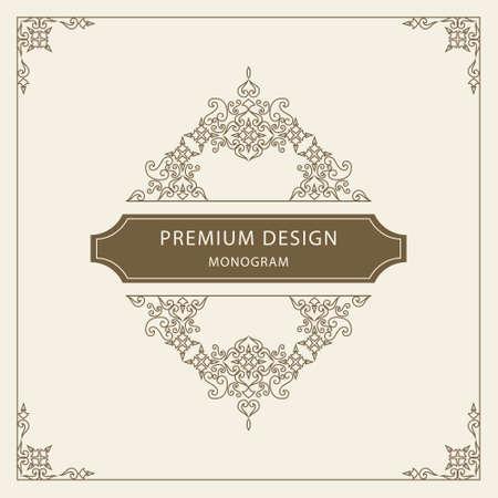 modern retro: Vector illustration of Vintage Ornament Greeting Card Vector Template. Retro Luxury Invitation, Royal Certificate. Flourishes frame. Vintage Background, Vintage Frame, Vintage Ornament, Ornaments Vector, Ornamental Frame.