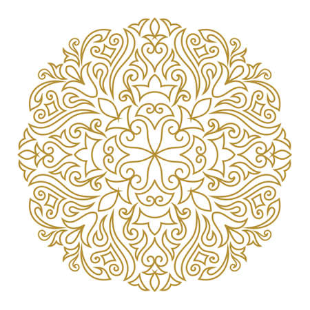 Vector illustration of Line art ornament for design template. Vintage element in Eastern style. Mandala. Outline traditional circle pattern for wedding invitations, greeting cards, certificate. Vector golden decor