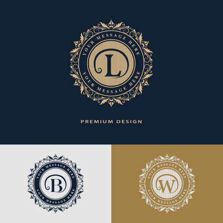 b w: Vector illustration of Luxury template flourishes calligraphic elegant ornament lines. Letter L, B, W. Business sign, identity for Restaurant, Royalty, Boutique, Hotel, Heraldic, Jewelry, Fashion. Vector illustration