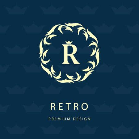jewelery: Vector illustration of Luxury Vintage. Business sign, label, Letter emblem R for badge, crest, Restaurant, Royalty, Boutique brand, Hotel, Heraldic, Jewelery, Fashion, Real estate, Resort, tattoo, Auctions Illustration