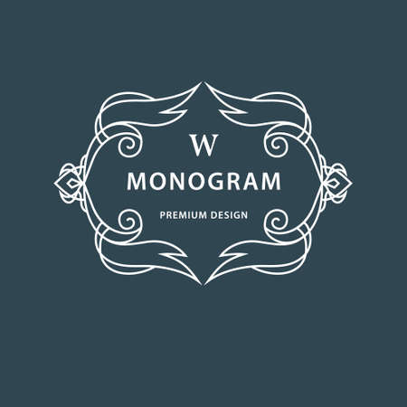 Vector illustration of Monogram design elements, graceful template. Elegant line art design. Beautiful frame for greeting cards. Business sign, identity for Restaurant, Boutique, Cafe, Hotel Illustration