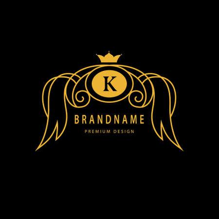 crown wings: Vector illustration of Monogram design elements, graceful template. Elegant line art design. Wings, crown emblem letter K for Restaurant, Web design, Boutique, Cafe, Hotel, Heraldic, Jewelry
