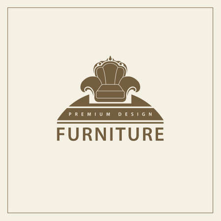 Furniture  template. luxury universal premium design. Interior  symbol. Style line emblem of chair. Armchair sign for your business. Vector illustration Illustration