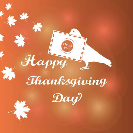 Happy Thanksgiving. The pigeon with the letter. Thank you. Vintage Design Thanksgiving celebration elements can be use as flyer, poster, postcard, banner, sticker, tag or label. Vector illustration