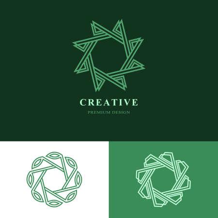 herbalist: Creative  design templates. Abstract minimalistic design. Geometric and simple element. Linear monogram. Business Idea emblem. Vector illustration