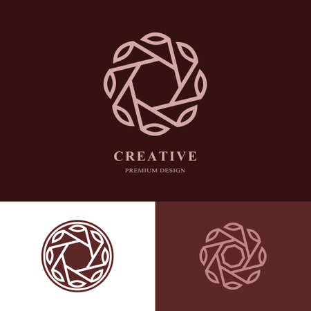 herbalist: Creative  design templates. Abstract design monogram with leaves. Business emblem for holistic medicine centers, yoga classes, natural and organic food products and packaging. Vector illustration