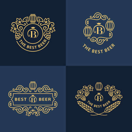 beer house: Line graphics monograms.  design. Flourishes frame ornament template with barrel , hops and leaves for  , labels, emblems for beer house, bar, pub, brewing company, brewery, tavern. Vector set