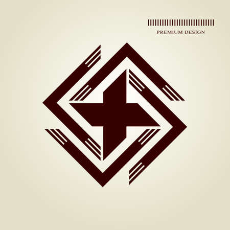 Geometric Monogram  . Abstract swastika in trendy style. Monochrome emblem hipster. Minimal Design elements for  , badge, banner, insignias, business card, label. Vector Illustration