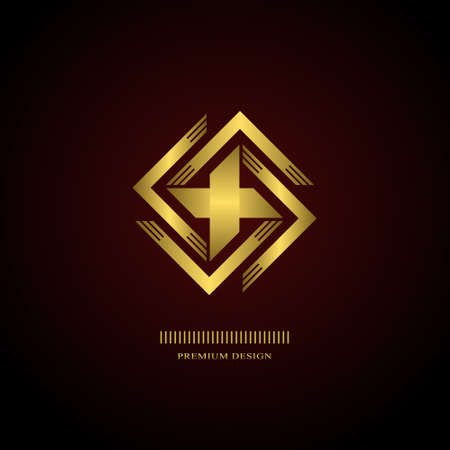 swastika: Geometric Monogram  . Abstract gold swastika in trendy style. Monochrome emblem hipster. Minimal Design elements for  , badge, banner, insignias, business card, label. Vector Illustration