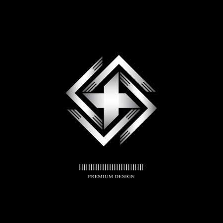 Geometric Monogram  . Abstract silver swastika in trendy style. Monochrome emblem hipster. Minimal Design elements for  , badge, banner, insignias, business card, label. Vector Illustration
