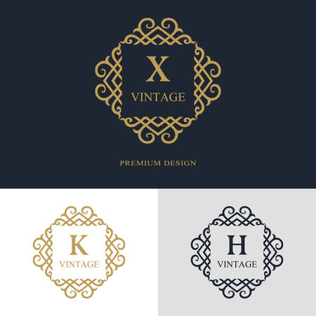 Monogram design elements, graceful template. Calligraphic elegant line art logo design. Letter emblem sign X, K, H for Royalty, business card, Boutique, Hotel, Heraldic, Jewelry. Vector illustration