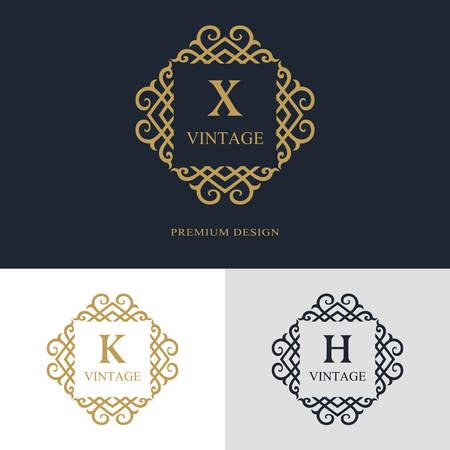 Monogram ontwerpelementen, sierlijke sjabloon. Kalligrafische elegante lijn kunst logo-ontwerp. Brief embleem teken X, K, H voor Royalty, visitekaartje, Boutique, Hotel, heraldiek, sieraden. Vector illustratie