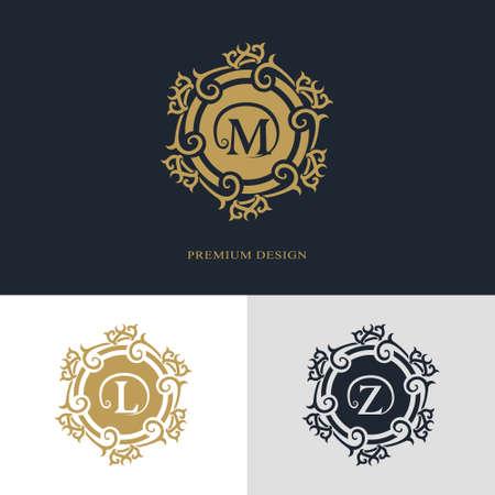 boutique hotel: elementos de diseño monograma, elegante plantilla. El diseño del arte elegante línea caligráfica. Carta emblema firman M, L, Z de imágenes, tarjetas de visita, Boutique, Hotel, heráldico, joyería. ilustración vectorial