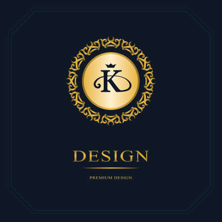 Monogram design elements, graceful template. Calligraphic elegant line art design. Letter emblem sign K for Royalty, business card, Boutique, Hotel, Heraldic, Jewelry. Vector illustration