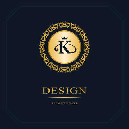 Monogram design elements, graceful template. Calligraphic elegant line art  design. Letter emblem sign K for Royalty, business card, Boutique, Hotel, Heraldic, Jewelry. Vector illustration