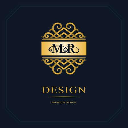 Monogram design elements, graceful template. Calligraphic elegant line art  design. Letter emblem sign M, R for Royalty, business card, Boutique, Hotel, Heraldic, Jewelry. Vector illustration