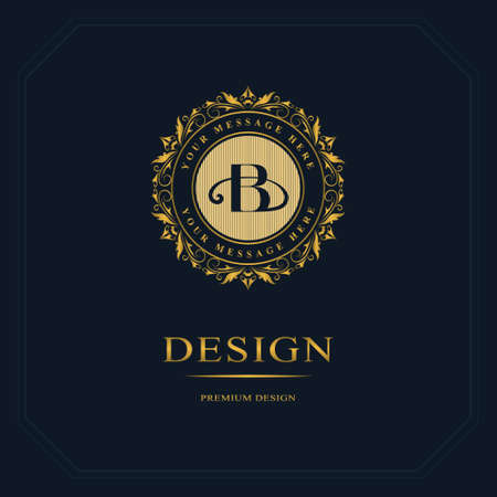Monogram design elements, graceful template. Calligraphic elegant line art  design. Letter emblem sign B for Royalty, business card, Boutique, Hotel, Heraldic, Jewelry. Vector illustration Vectores