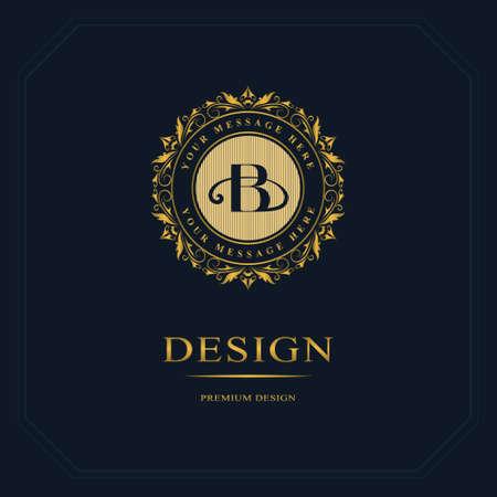 Monogram design elements, graceful template. Calligraphic elegant line art  design. Letter emblem sign B for Royalty, business card, Boutique, Hotel, Heraldic, Jewelry. Vector illustration Ilustração