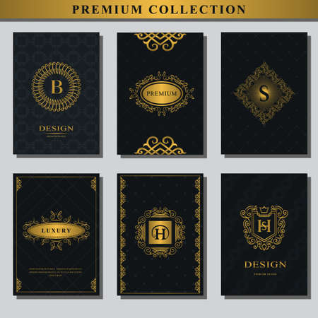 Set of gold emblems. Collection of design elements, frames, for packaging, design of luxury products.  design for business cards, brochures, booklets, flyers. Vector illustration