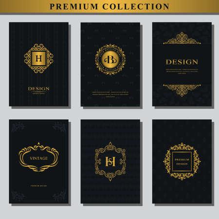 ゴールドのエンブレムのセットです。デザイン要素、ラベル、アイコン、パッケージ、高級品のデザインのためのフレームのコレクションです。 名  イラスト・ベクター素材