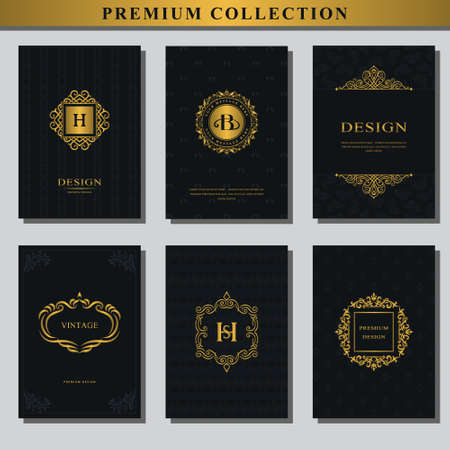 Set of gold emblems. Collection of design elements, labels, icon, frames, for packaging, design of luxury products.  design for business cards, brochures, booklets, flyers. Vector illustration Çizim