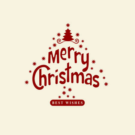 wishing card: Wishing You A Merry Christmas. Christmas Tree with snowflakes. Greeting card, invitation, brochure, flyer design and retro ornament decoration. Vector illustration