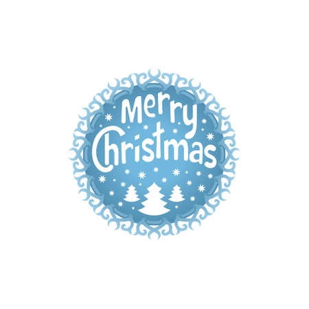 wishing card: Wishing You A Merry Christmas. Christmas Tree with snowflakes. Christmas round element for Greeting card, invitation, brochure, flyer design. Retro ornament decoration. Vector illustration
