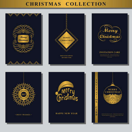 wishing card: Set of Christmas invitations. Collection of Greeting card. Wishing You A Merry Christmas. Gold ornament decoration. Vintage frames, Christmas ball. Elegant New year design. Vector illustration Illustration