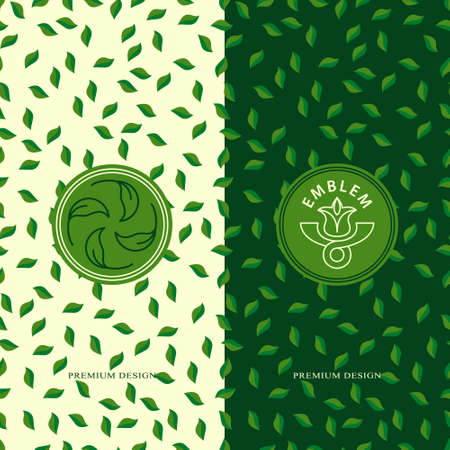 Set of design elements, graceful  template. Seamless pattern background for organic, healthy, food packaging. Green labels and organic emblems for products, shops, websites. Vector illustration