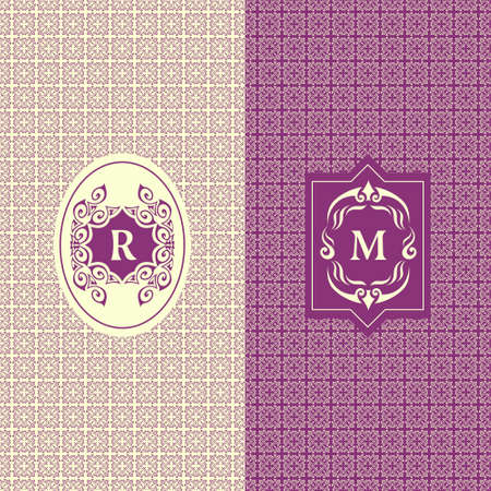 diamond letters: Abstract Monogram graceful template. Seamless pattern background. Calligraphic elegant  design. Letter emblem sign R, M. Fashion universal decorative label. Vector illustration