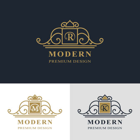 Monogram design elements, graceful template. Calligraphic elegant line art logo design. Letter emblem sign R, M, K for Royalty, business card, Boutique, Hotel, Heraldic, Jewelry. Vector illustration