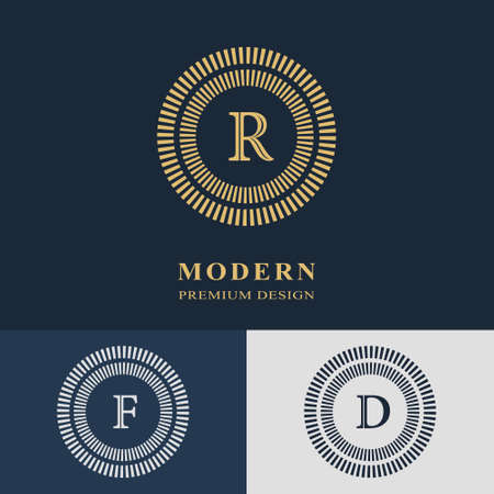 Modern logo design. Geometric linear monogram template. Letter emblem R, F, D. Mark of distinction.