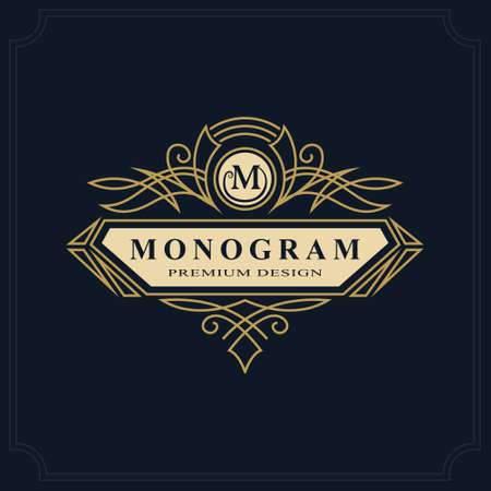 initial: Line art Monogram luxury design, graceful template. Calligraphic elegant beautiful logo. Letter emblem sign M for Royalty, Restaurant, Boutique, Hotel, Heraldic, Jewelry. Vector illustration