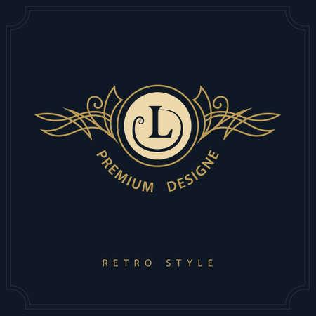 Line art Monogram luxury design, graceful template. Calligraphic elegant beautiful logo.