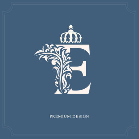 Elegant letter E with a crown. Graceful royal style. Calligraphic beautiful logo. Vintage drawn emblem for book design, brand name, business card, Restaurant, Boutique, Hotel. Vector illustration