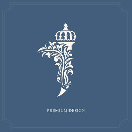 kingly: Elegant letter J with a crown. Graceful royal style. Calligraphic beautiful logo. Vintage drawn emblem for book design, brand name, business card, Restaurant, Boutique, Hotel. Vector illustration