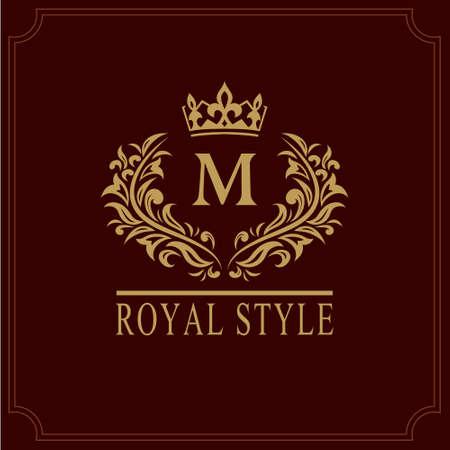 kingly: Floral Monogram luxury design, graceful template. Calligraphic elegant beautiful logo. Letter emblem sign M for Royalty, Restaurant, Boutique, Hotel, Heraldic, Jewelry. Vector illustration