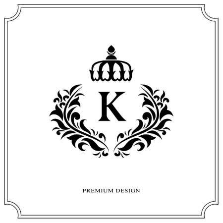 Floral Monogram luxe design, sierlijke sjabloon. Kalligrafische elegante mooie logo. Letter K voor Royalty, Restaurant, Boutique, Hotel, Heraldiek, Sieraden. Vector illustratie Stock Illustratie
