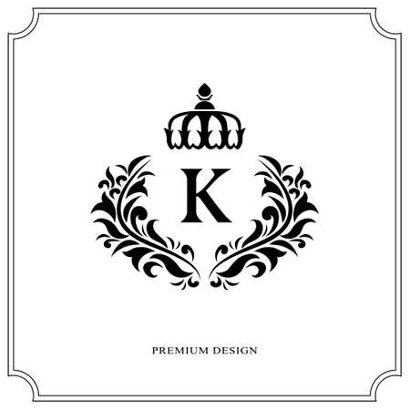 Floral Monogram luxury design, graceful template. Calligraphic elegant beautiful logo. Letter K for Royalty, Restaurant, Boutique, Hotel, Heraldic, Jewelry. Vector illustration