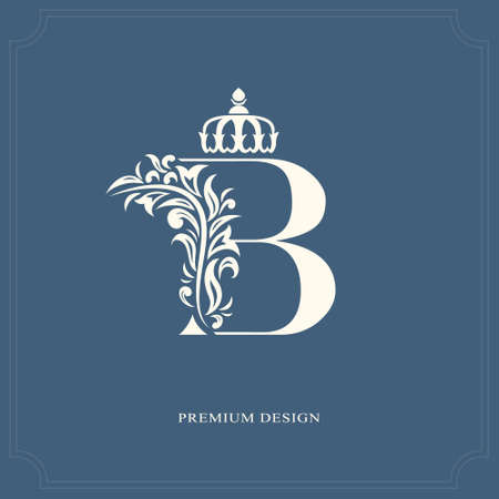 kingly: Elegant letter B with a crown. Graceful royal style. Calligraphic beautiful logo. Vintage drawn emblem for book design, brand name, business card, Restaurant, Boutique, Hotel. Vector illustration