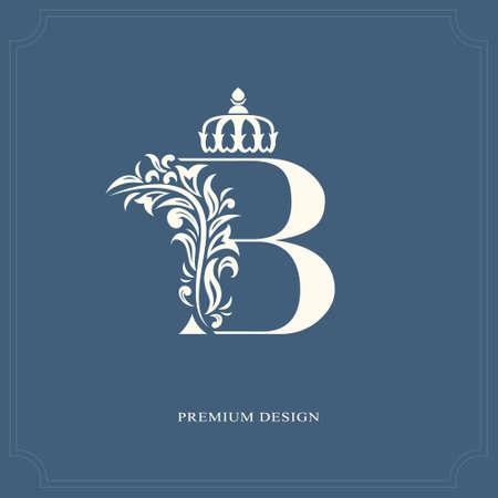lettre élégante b avec une couronne. style royal gracieux. beau logo