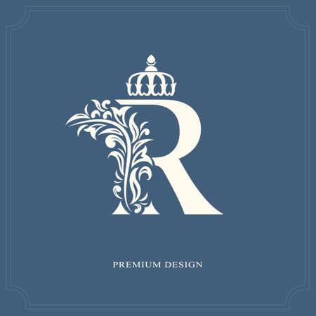 エレガントな王冠と R の文字。優美なロイヤル スタイル。カリグラフィの美しいロゴ。ブック デザイン、ブランド、ビジネス カード、レストラン